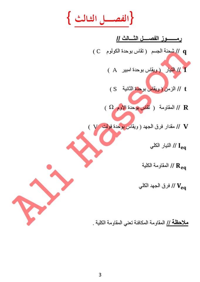 مجموعه ملخصات القوانين واستخداماتها لفيزياء الثالث المتوسط  2019 3312