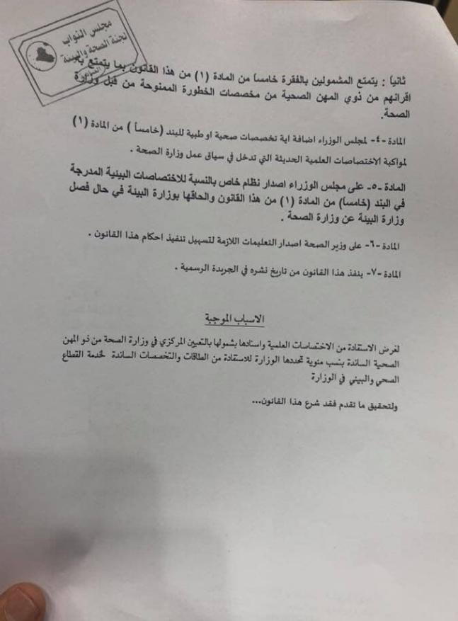 مجلس النواب العراقي يصوت على التعديل الثالث لقانون تدرج ذوي المهن الطبية 349