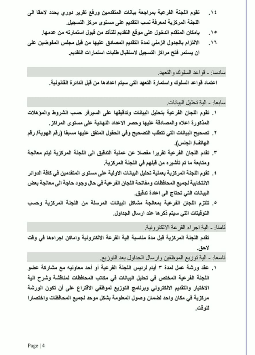 تعليمات عمل مفوضية الانتخابات 2021 مع موظف الاقتراع 4103
