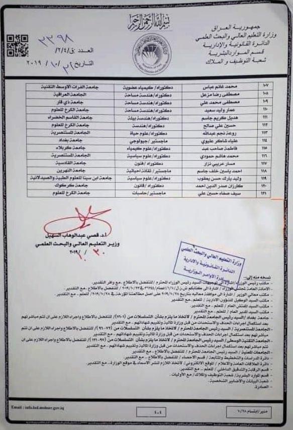 121 اسم ضمن تعيينات وزارة التعليم العالي والبحث العلمي 2020 للمعتصمين 430