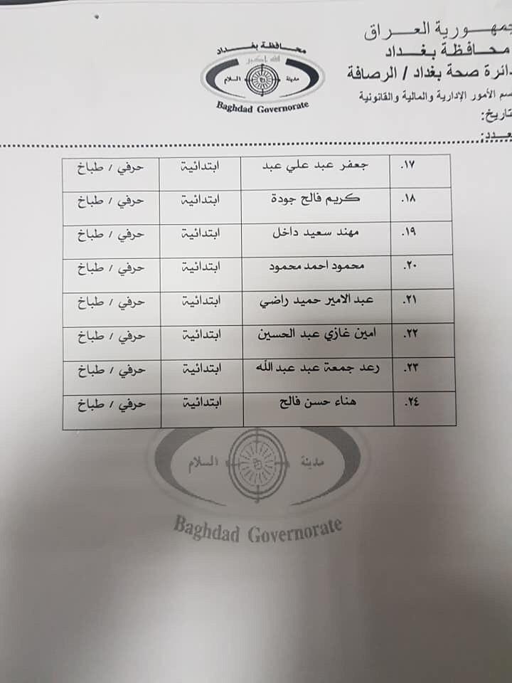 عااجل أسماء المقبولين بتعيينات دائرة الصحة بغداد (الوجبة الرابعة) 2020 490