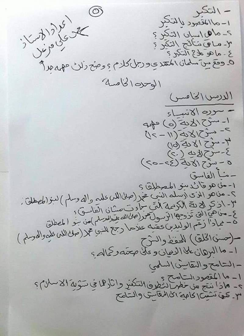 مرشحات مهمه جدا للتربية الاسلامية للصف السادس الاعدادي 2018 510