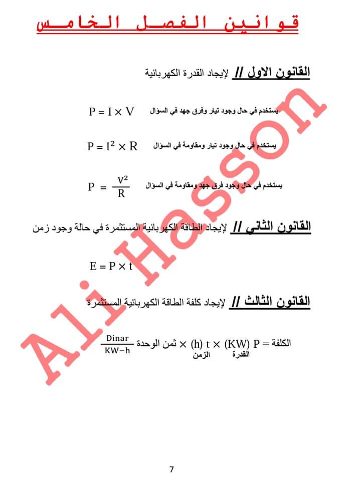 مجموعه ملخصات القوانين واستخداماتها لفيزياء الثالث المتوسط  2019 538