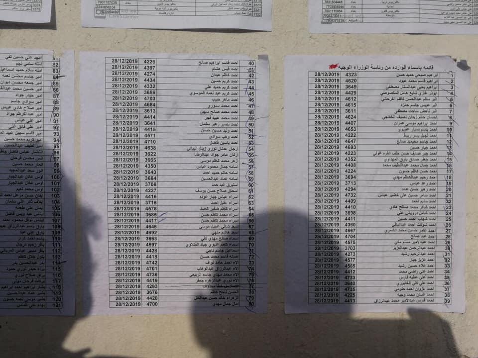 اسماء المقبولين في تعيينات مكتب رئيس الوزراء في العلاوي على وزارة الدفاع 568