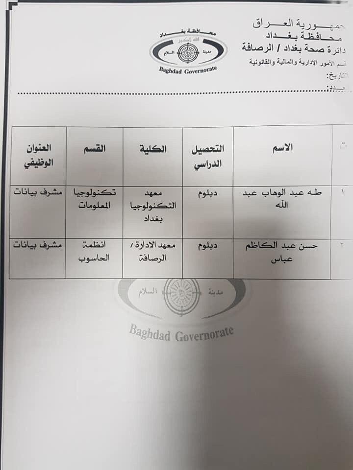عااجل أسماء المقبولين بتعيينات دائرة الصحة بغداد (الوجبة الثالثة) 2020 578
