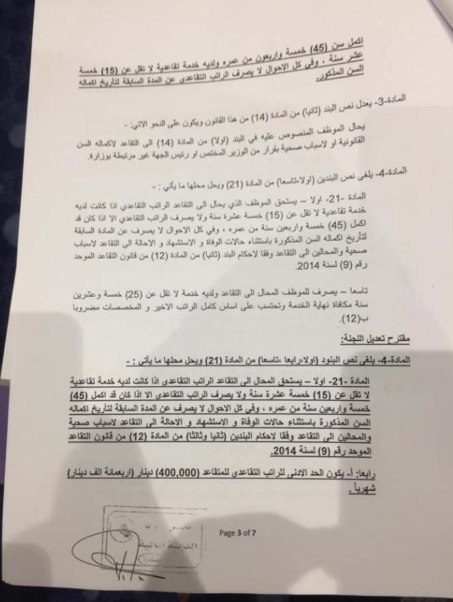 النص الكامل لتنفيذ قانون التقاعد الموحد المصوت عليه من مجلس النواب العراقي 625