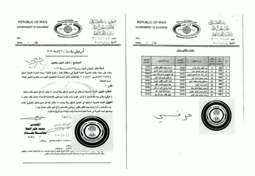 تعيينات تربية الكرخ الثانية اسماء الاحتياط بدلا ممن لم يباشروا 674