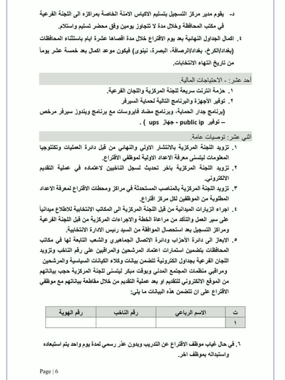 تعليمات عمل مفوضية الانتخابات 2021 مع موظف الاقتراع 677