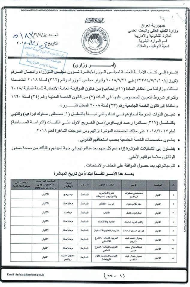 عاجل :: تعيينات بوزارة التعليم العالي لحاملي الشهادات 719