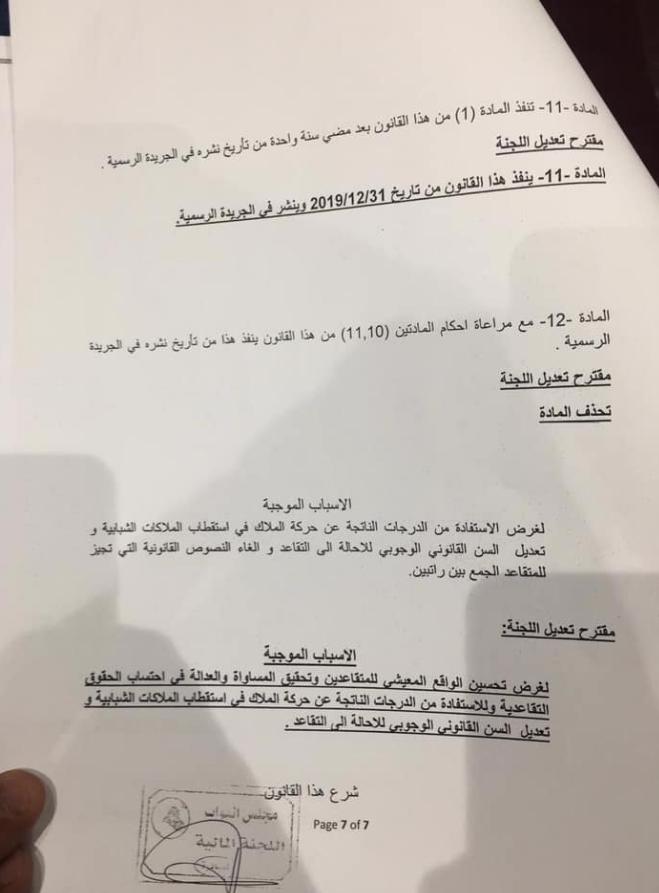 النص الكامل لتنفيذ قانون التقاعد الموحد المصوت عليه من مجلس النواب العراقي 725
