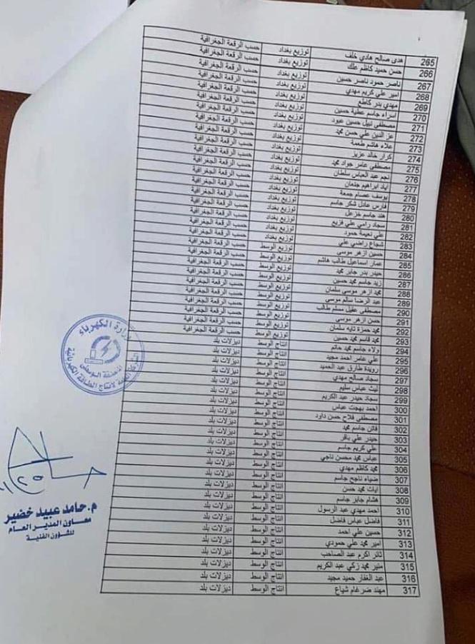 تعيينات الكهرباء العراقية 2020 الشركة العامة لأنتاج الطاقة الكهربائية 739