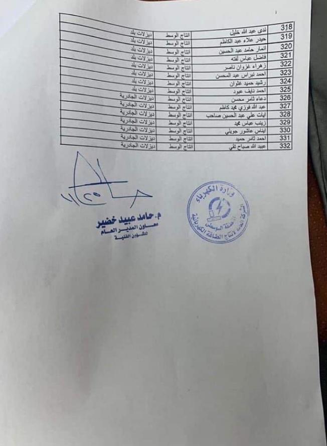 تعيينات الكهرباء العراقية 2019 الشركة العامة لأنتاج الطاقة الكهربائية 825