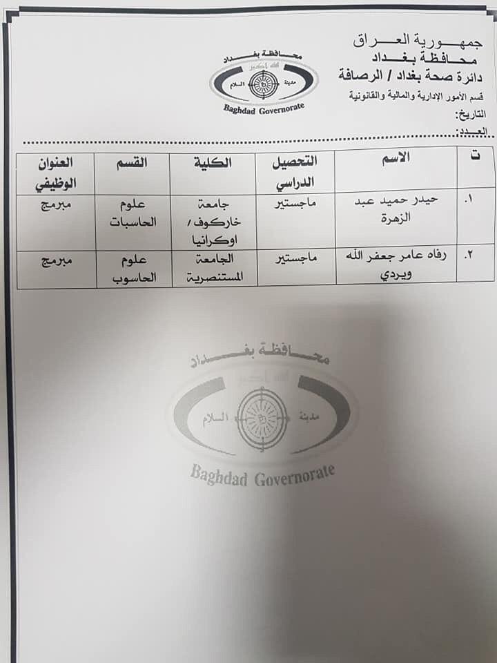 عااجل أسماء المقبولين بتعيينات دائرة الصحة بغداد (الوجبة الثالثة) 2020 850