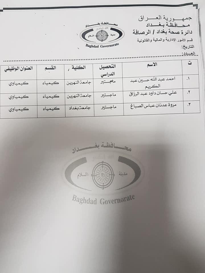 عااجل أسماء المقبولين بتعيينات دائرة الصحة بغداد (الوجبة الثانية) 2020 946