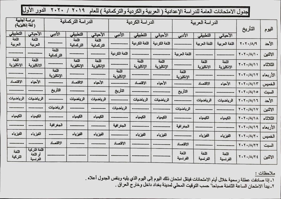موعد وجدول الامتحانات النهائية السادس الاعدادي الدور الاول 2020  Da14