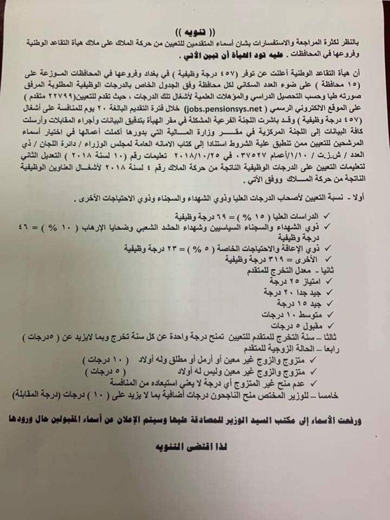 تنويه بالنسبة لنتائج الفائزين بتعيينات هيأة التقاعد الوطنية العراقية 2020  Gt10