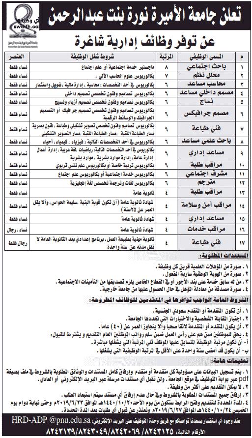 جامعة الأميرة نورة بنت عبدالرحمن: وظائف إدارية نسائية ورجالية شاغرة  Iia-co10