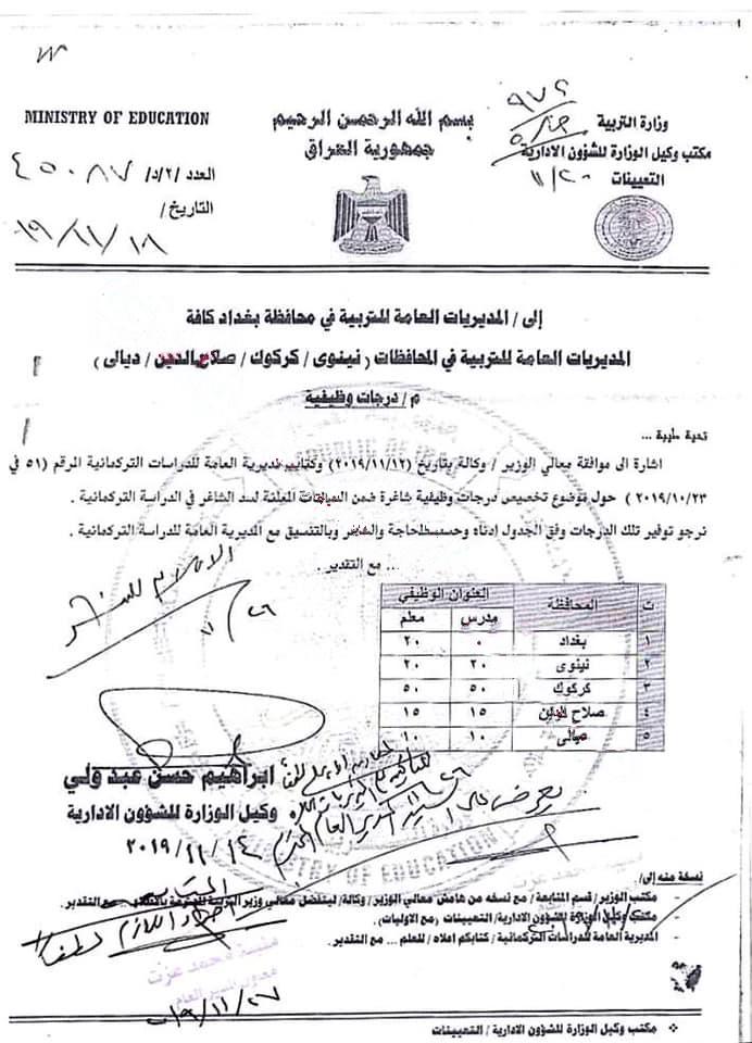 تعيينات وزارة التربية 2020 اكثر من 150 درجة مشمولة بالدراسة التركمانية Oooao_10