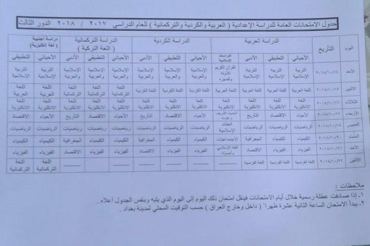 جدول امتحانات الدور الثالث لطلبة السادس الاعدادي والثالث المتوسط 2018 Q12