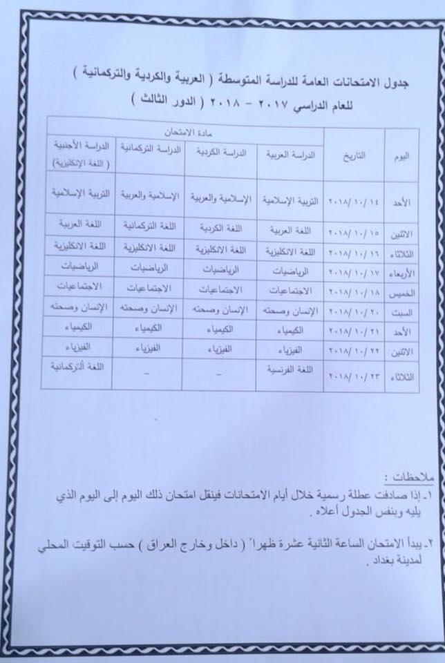 جدول امتحانات الدور الثالث لطلبة السادس الاعدادي والثالث المتوسط 2018 Qq10