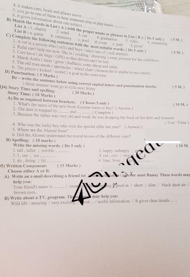 ورقة اسئلة الانكليزي  للصف الثالث المتوسط للدور الاول السبت 17 يونيو 2019 Ww12