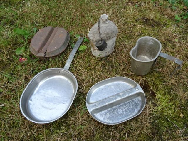 La popote du GI (WW2) : plastic canteen (gourde ethocel), gamelles M1942… Dsc01210