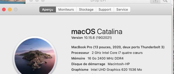 macOS Catalina 10.15.6 Mise a jour supplémentaire (19G2021) Captu103