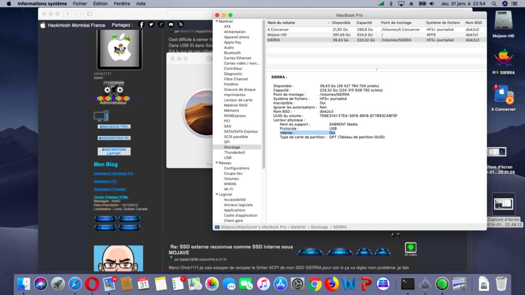SSD externe reconnue comme SSD interne sous MOJAVE Captur30