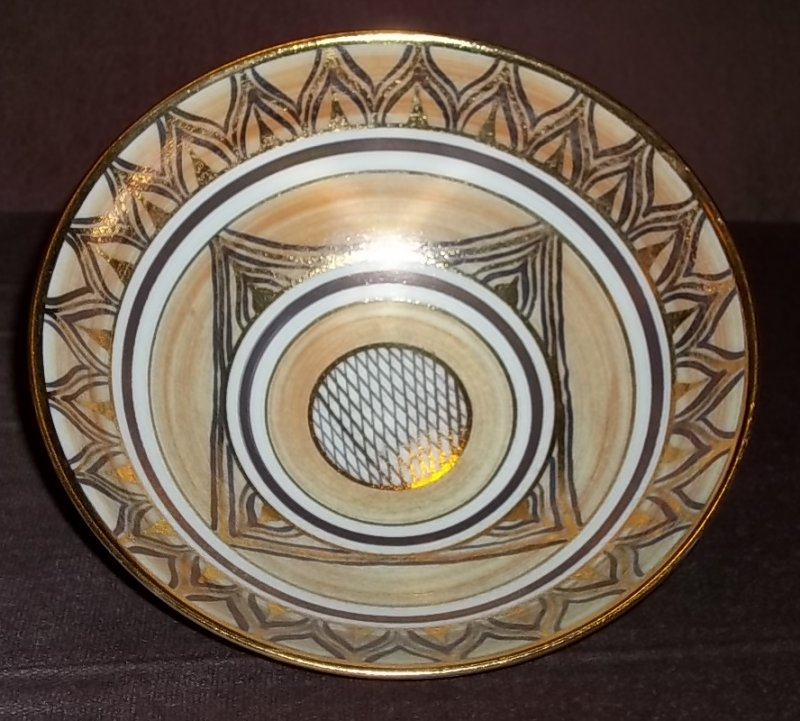 "Gilded porcelain bowl, ""A"" mark - Angela Marshall  100_4484"