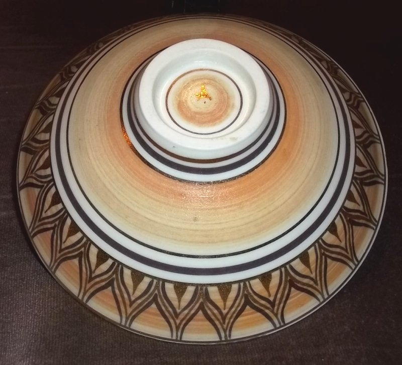 "Gilded porcelain bowl, ""A"" mark - Angela Marshall  100_4485"