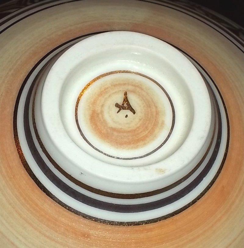"Gilded porcelain bowl, ""A"" mark - Angela Marshall  100_4486"