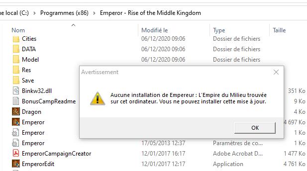 le patch Emperor 1.0.1.0 Update - French (fr) incompatible avec W10 Captur10