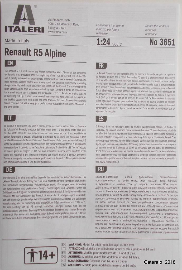 [ Italeri ] Renault 5 Alpine  00710