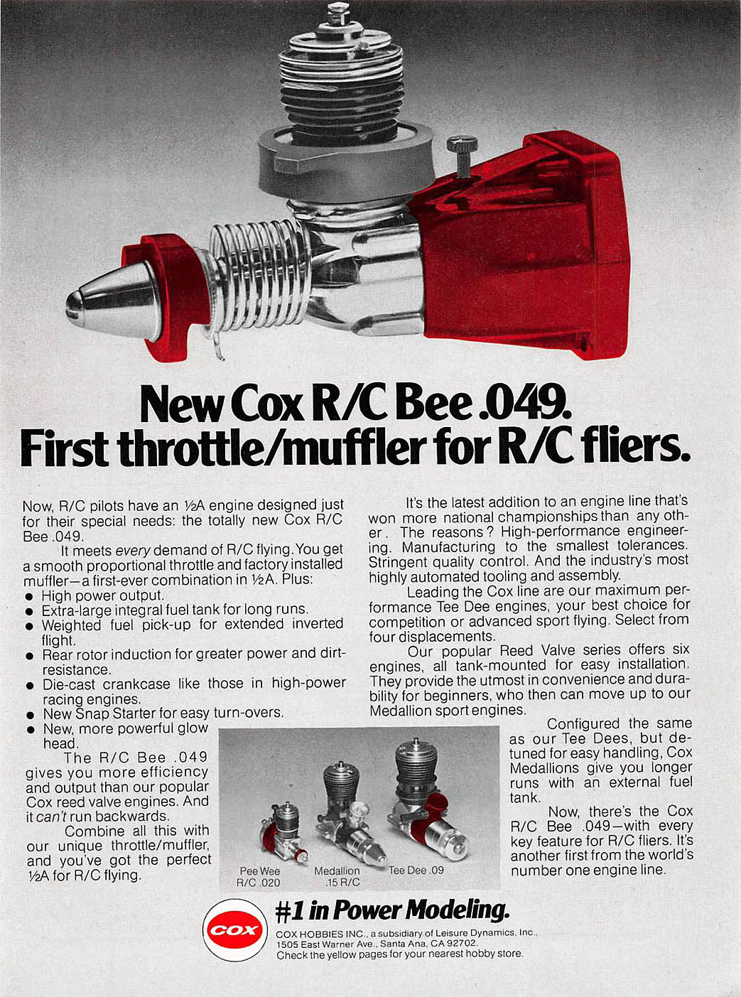 Cox RC Bee ad in RCM magazine
