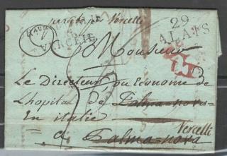 lettre de 1814 - Verceil italie Alais110