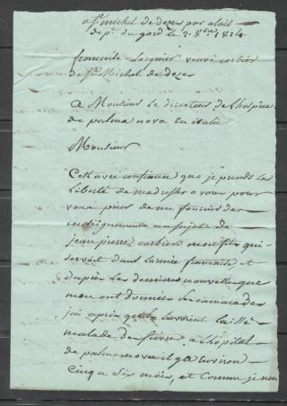 lettre de 1814 - Verceil italie Alais210