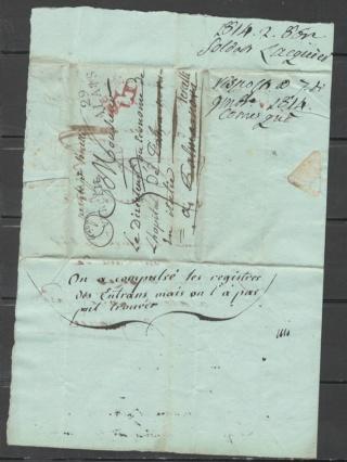 lettre de 1814 - Verceil italie Alais310