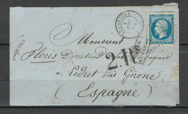 lettre pour Gerone - Espagne - 1859 Espagn11