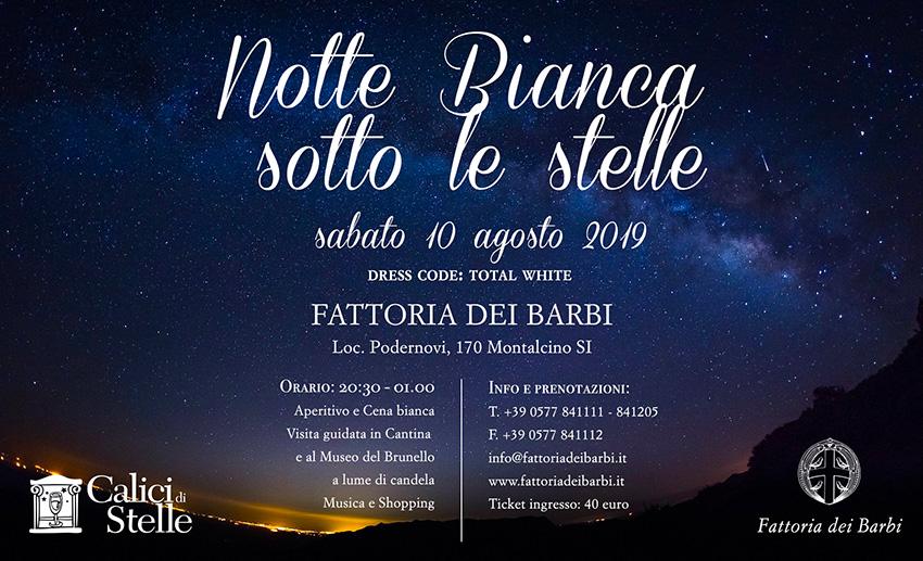 10 Agosto 2019 | A Montalcino (SI) La Notte Bianca Sotto le Stelle 2019ca10