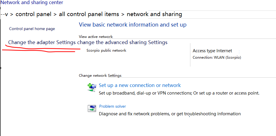 """I can't open the option""""Change the advanced sharing Settings"""" 23310"""