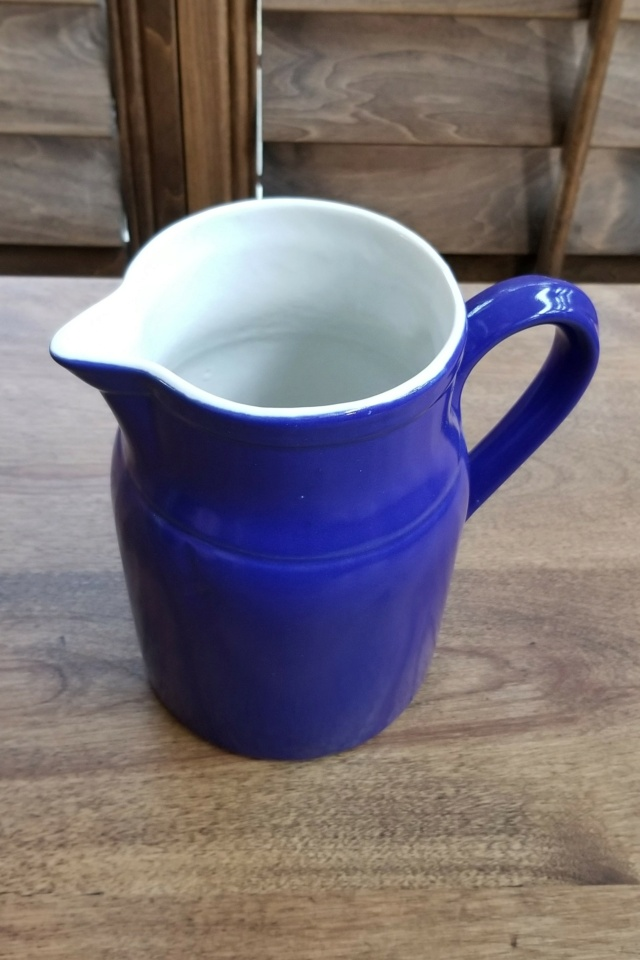 Blue & White Ceramic Pitcher- Anyone recognize this maker's mark? 20210312