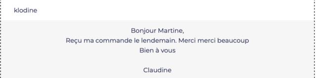 Avis clients Claudi10