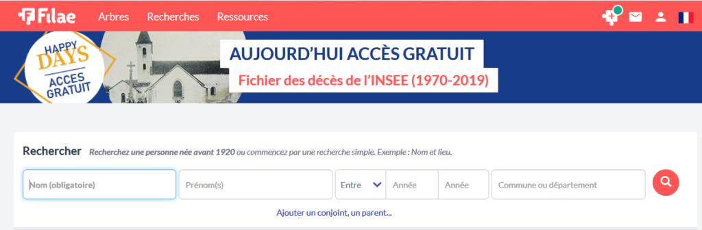 Filaé - Fichier des décès de l'INSEE gratuit ce jour 2020-012