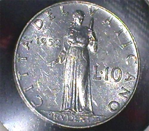 Italia (Vaticano), 10 liras, 1952. Pruden10