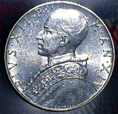 Italia (Vaticano), 10 liras, 1952. Pruden11