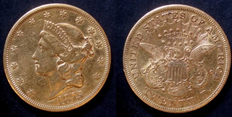 EUA, 20 dólares, 1875. 20s10