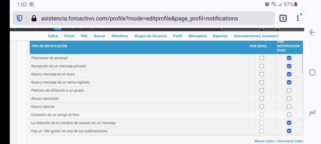 Notificación para mensajes privados en versión móvil Scree143