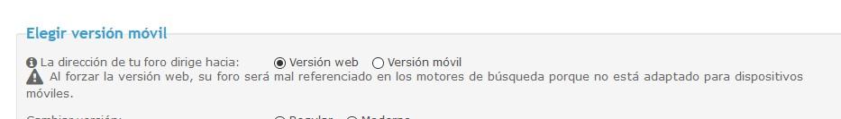 Elegir versión web o versión móvil Screen86