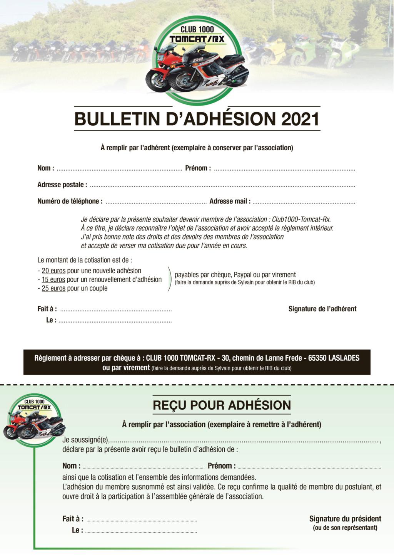 Bulletin d'adhésion au club Bullet11