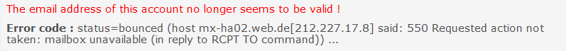 E-Mail Adresse ungültig - Benachrichtigung von Forumieren Screen12